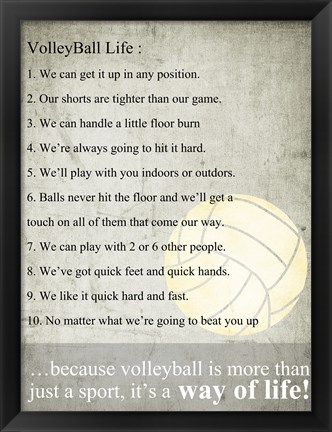 Framed Volleyball Life Print