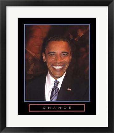 Framed Obama - Change Print