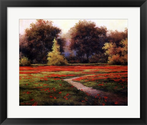 Framed Autumn Poppies I Print