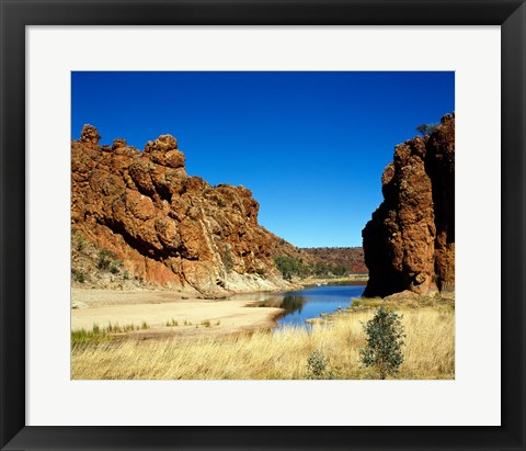 Framed Lake surrounded by rocks, Glen Helen Gorge, Northern Territory, Australia Print