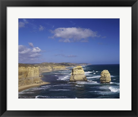 Framed High angle view of rock formations in the ocean, Gibson Beach, Port Campbell National Park, Australia Print