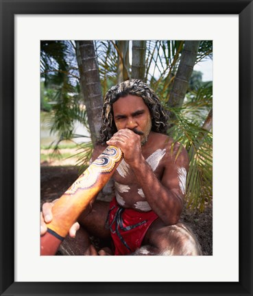 Framed Pamagirri aborigine playing a didgeridoo, Australia Print