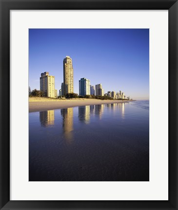Framed Reflection of buildings in water, Surfers Paradise, Queensland, Australia Print