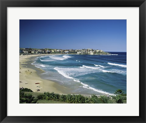 Framed High angle view of a beach, Bondi Beach, Sydney, New South Wales, Australia Print