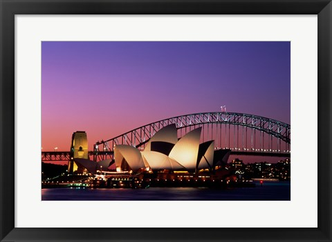 Framed Opera house lit up at night, Sydney Opera House, Sydney Harbor Bridge, Sydney, Australia Print