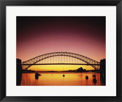 Framed Silhouette of a bridge across a harbor, Sydney Harbor Bridge, Sydney, New South Wales, Australia Print