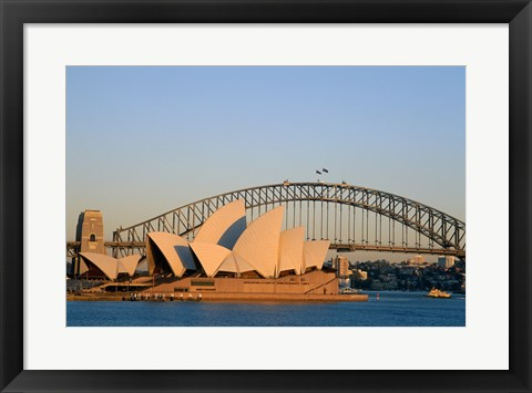 Framed Sydney Opera House in front of the Sydney Harbor Bridge, Sydney, Australia Print