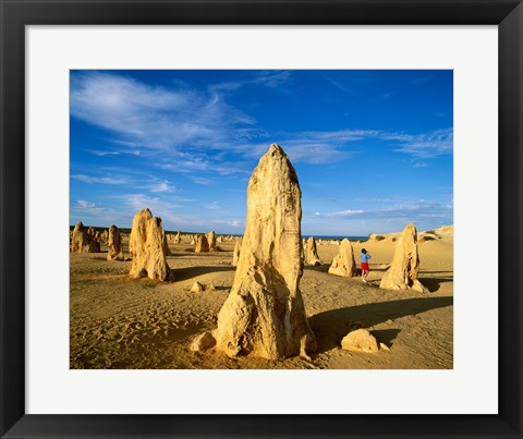 Framed Rock formations in the desert, The Pinnacles Desert, Nambung National Park, Australia Print