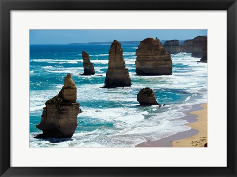 Framed Rock formations on the coast, Twelve Apostles, Port Campbell National Park, Victoria, Australia Print