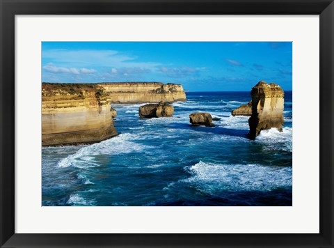 Framed Rock formations on the coast, Port Campbell National Park, Victoria, Australia Print