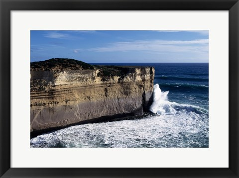 Framed High angle view of waves breaking on the coast, Port Campbell National Park, Victoria, Australia Print