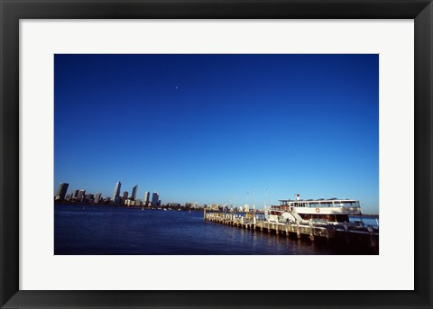 Framed Ferry docked in a harbor, Perth, Australia Print