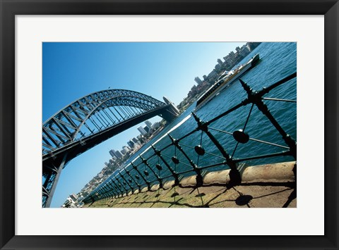Framed Low angle view of a bridge at a harbor, Sydney Harbor Bridge, Sydney, New South Wales, Australia Print