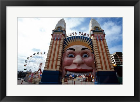 Framed Low angle view of the entrance to an amusement park, Luna Park, Sydney, New South Wales, Australia Print