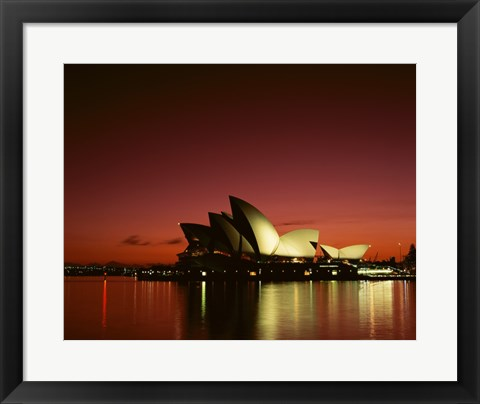 Framed Opera house lit up at night, Sydney Opera House, Sydney, Australia Print