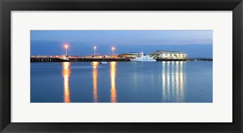 Framed Buildings lit up at dusk, Darwin Wharf Precinct, Darwin, Australia Print