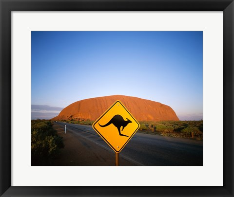 Framed Kangaroo sign on a road with a rock formation in the background, Ayers Rock Print