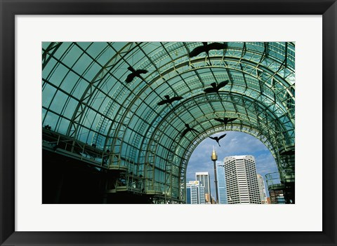 Framed Low angle view of sculptures of birds in a shopping mall Print