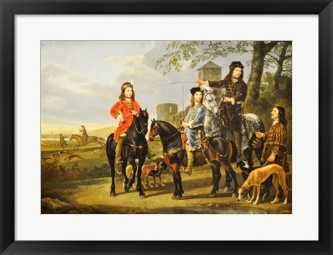 Framed Aelbert Cuyp, Starting For  the Hunt Crop Print