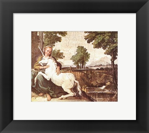 Framed Domenichino Unicorn Pal Farnese Print