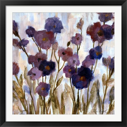 Framed Abstracted Florals In Purple Print