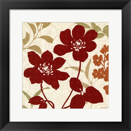 Framed Floral Shadows I Print