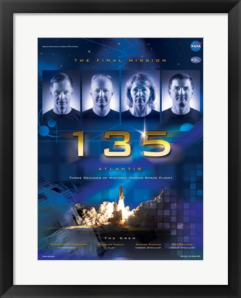 Framed NASA STS-135 Official Mission Poster Print