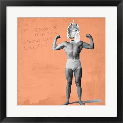 Framed Muscle Man Unicorn Print