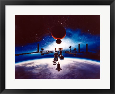 Framed Artist's Conception of Space Station Freedom Print
