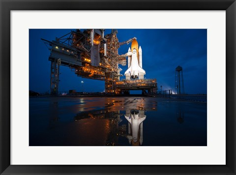 Framed Brightly Lit Atlantis STS-135 on Launch Pad Print