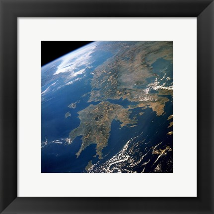 Framed Greece from Space Print
