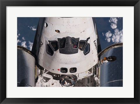 Framed Partial view of the crew cabin and forward payload bay of the space shuttle Discovery Print