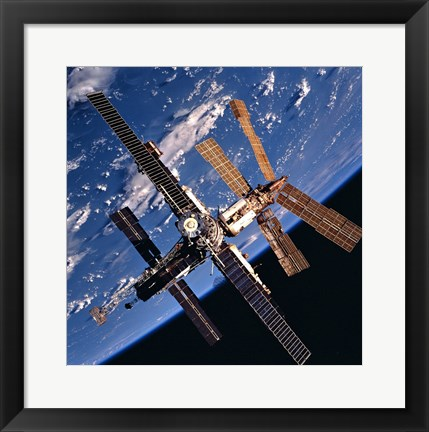Framed Mir Space Station And Earth Print