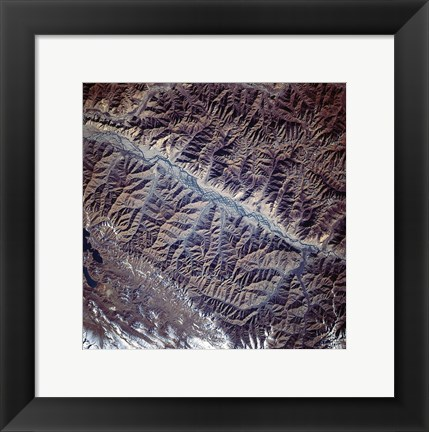 Framed Mountain Range from Space Print