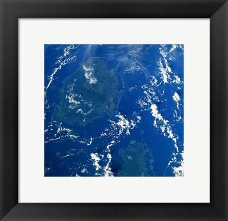 Framed Reef Base as seen from space taken by Atlantis Print