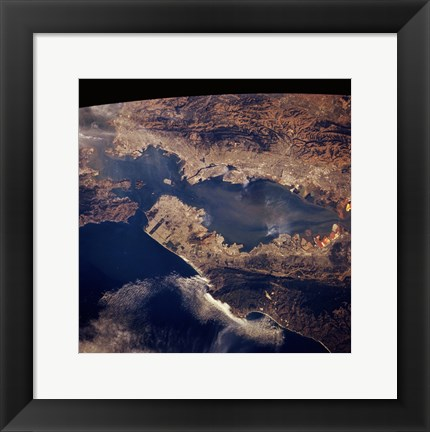 Framed San Francisco taken from space by shuttle columbia Print