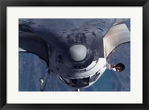 Framed Space Shuttle Discovery as it approached the International Space Station Print