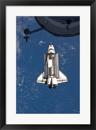 Framed STS-135 Atlantis approaches the ISS Print