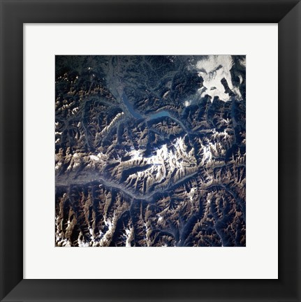Framed Swiss alps from space taken by Atlantis Print