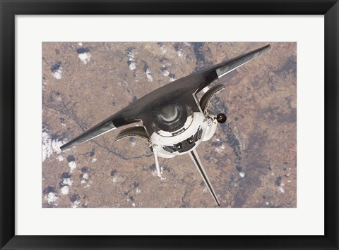 Framed Top down view of atlantis docking from ISS Print