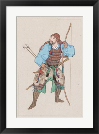 Framed Samurai with bow Print