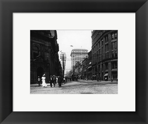 Framed Yonge Street at Front Street in Toronto Print