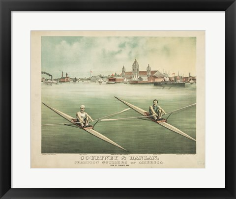 Framed Courtney & Hanlan, Champion Scullers of America Print