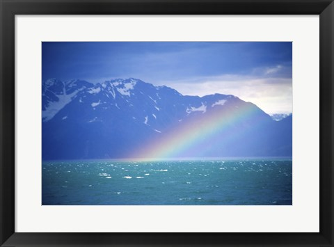 Framed Rainbow over a sea, Resurrection Bay, Kenai Fjords National Park, Alaska, USA Print
