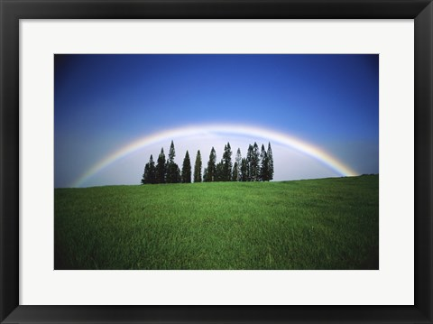 Framed Grassy hill with a rainbow in the background Print