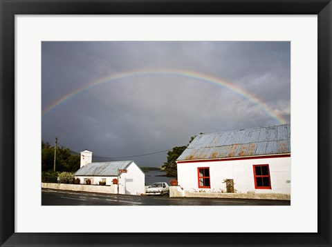 Framed Rainbow over a cottage, Cloonee Lakes, County Kerry, Munster Province, Ireland Print