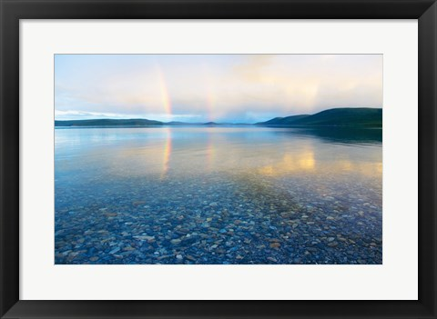 Framed Reflection of a rainbow in a lake, Lake Khovsgol, Sayan Mountains, Russian-Mongolian border Print