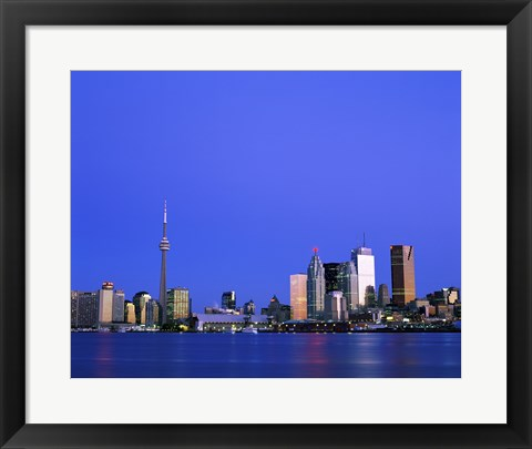 Framed Buildings on the waterfront, CN Tower, Toronto, Ontario, Canada Print