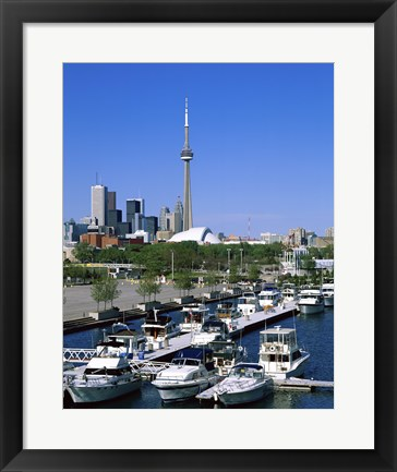 Framed Boats docked at a dock, Toronto, Ontario, Canada Print