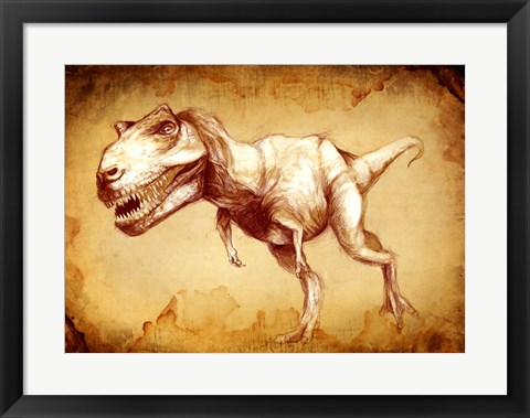 Framed T Rex Sketch Print